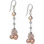 Pink Pearls and Swarovski Crystal Dangle Earrings