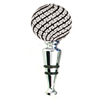 Blown Venetian Wine Stoppers - Black and White