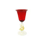 Red and Gold Venetian Cordial w/Dolphin Stem Authentic Murano Glass
