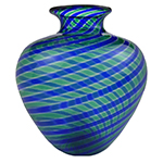 Blue and Green Spiral Canes Small Vase Authentic Murano Glass, La Fenice