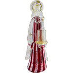 Red and White Zanfirico Murano Glass Angel with Candle Holder