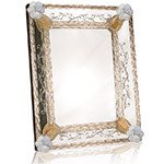 Etched Murano Glass Mirror - Gold Flowers