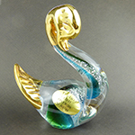 Aqua and Green Swan with 24k tGold Foil Accents Murano Glass