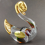 Topaz and Green Swan with 24k tGold Foil Accents Murano Glass