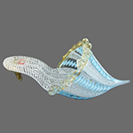 Aqua and White Zanfirico Authentic Murano Glass Slippers