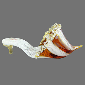 Topaz and White Zanfirico Authentic Murano Glass Slippers