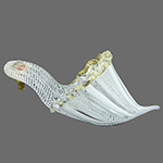 White and White Zanfirico Authentic Murano Glass Slippers