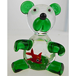 Lampwork Murano Glass Bear Green Gold Fish