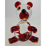 Lampwork Murano Glass Bear Red Gold Fish