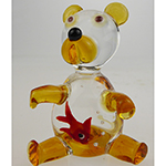 Lampwork Murano Glass Bear Topaz Gold Fish