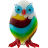 Lampwork Murano Striped Owl Figurine Red & Green