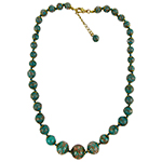 Teal Aventurina Graduated Necklace 20 Inches w/ 2 Inch Extender, Gold Tone Clasp Authentic Murano Glass Beaded