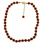 Transparent Topaz Aventurina  Necklace 16 Inches w/ 2 Inch Extender, Gold Tone Clasp Authentic Murano Glass Beaded