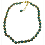 Green/Aqua Aventurina  Necklace 16 Inches w/ 2 Inch Extender, Gold Tone Clasp Authentic Murano Glass Beaded