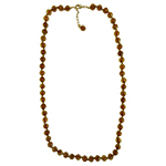 Topaz with Aventurina Authentic Murano Glass Beaded Necklace 26 Inches with 2 Inch Extender, Gold Tone Clasp