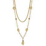 Celeste Ca'd'oro Cubes and Swarovski Crystal Pearls Necklace with Double Chain 40 Inches