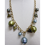 Acciaio Baubles Chain and Venetian Glass Bead Dangles Necklace 22 Inches