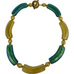 Aqua and Gold Foil Flat Curves Murano Glass Necklace 17 Inches