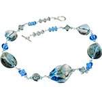 Authentic Murano Glass Beads Aqua and Gray Fumed Necklace 20 Inch