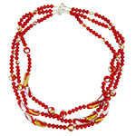 Red with Gold and Silver Extravaganza 3 Strand Murano Glass Bead Necklace