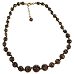 Black Aventurina Graduated Necklace 20 Inches w/ 2 Inch Extender, Gold Tone Clasp Authentic Murano Glass Beaded