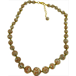 Soft Gray Aventurina Graduated Necklace 18 Inches w/ 2 Inch Extender, Gold Tone Clasp Authentic Murano Glass Beaded