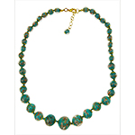 Greenish Aqua  Aventurina Graduated Necklace 18 Inches w/ 2 Inch Extender, Gold Tone Clasp Authentic Murano Glass Beaded