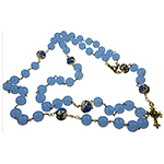 Murano Glass Bead Rosary, Maryann, Aqua and Blues with 22kt Gold Plated Cross