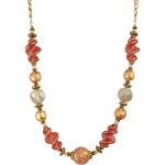 Pink 24kt Gold Foil Twist Murano Glass Necklace, 18 Inches