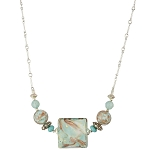 Aqua Squares Marbled with Aventurina Murano Glass Bead Necklace