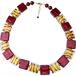 Red Tigrato and Gold Murano Glass Squares with Gold Swirls 20 Inches with 2/12 Extension