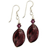Dark Amethyst White Gold Murano Glass Earrings