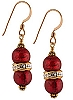 Double Bead Earrings, Red and Gold