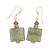 Blue with 24kt Gold Foil Murano Glass and Amethyst Squares Earrings