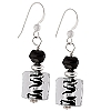 Sterling Silver Black ZigZag Murano Glass Earrings