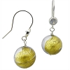 Clear 4 Colors Square Earring over Silver and Gold Murano Glass