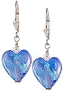 Blue Heart Dichroic Earrings - Sterling