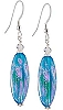 Aqua Dichroic Earrings - Sterling