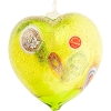 Green and Gold Blown Heart Ornaments w/Millefiori Murano Glass