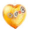 Topaz and Gold Blown Heart Ornaments w/Millefiori Murano Glass