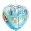 Aqua and Gold Blown Heart Ornaments w/Millefiori Murano Glass