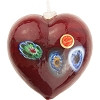 Garnet Red Blown Heart Ornaments w/Millefiori Murano Glass