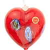 Orangey Red Blown Heart Ornaments w/Millefiori Murano Glass