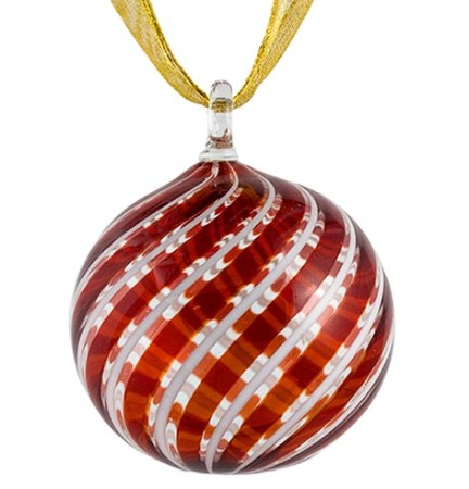 Red and White Striped Murano Glass Hanging Ornament - Red And White Striped Murano Glass Christmas Ornament - Venetian Glass