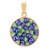 Green and Cobalt Millefiori Pendants 18mm Vermeil Bezel