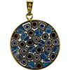 Opaque Abstract Circles Murano Glass Brown and Blue Millefiori Pendants 23mm Vermeil