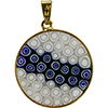Black and Blue Murano Glass Millefiori Pendants 23mm