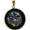 Black Bouquet Multi Flowers 23mm Millefiori Gold Pendant Murano Glass