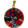 Black and Red Picasso 23mm Millefiori Gold Pendant