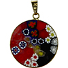 Black and Red Flowers 23mm Millefiori Gold Pendant